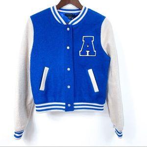 QED London Blue and White Varsity Jacket